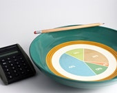 Pie Chart Math Bowl in Teal and Copper Orange