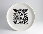 QR Code iPhone Android Smart Phone App - Black and White Plate