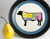 Beef Butcher Diagram Bowl - Black with Multicolor Beef Illustration