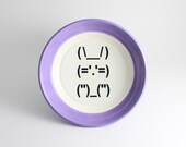 Lilac Bunny Rabbit - Pastel Purple Bowl with Ascii Computer Punctuation Bunny