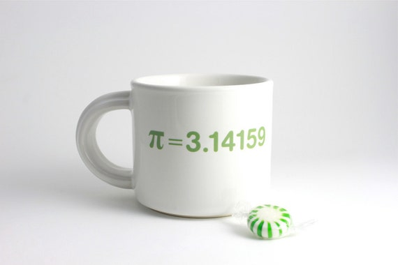 Math Coffee Cup - Green and White Mug with Pi
