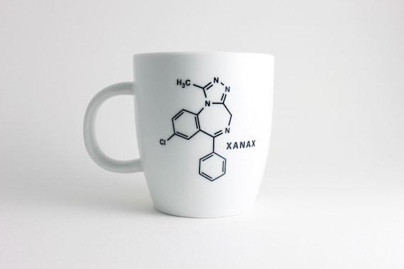 Xanax Chemistry Molecule Coffee Mug in Black and White