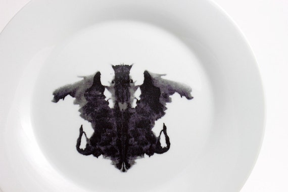 Rorschach Ink Blot Lunch Plate in Black and White