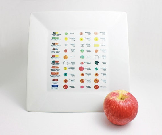 1950's Pill Chart Drug Plate - Large Square Plate with Vintage Found Art