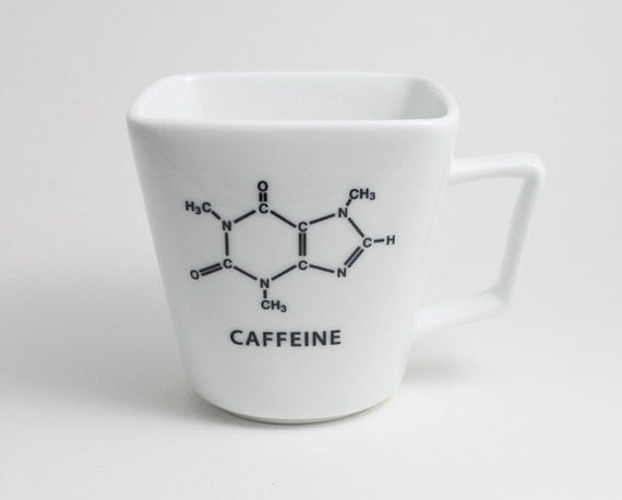 Square Coffee Cup with Caffeine Molecule Chemistry - Black and White