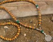 108 bead mala wrap bracelet , or necklace, sandalwood, malachite and Vintage coin