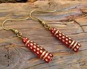r u b y bohemian - hand painted bead earrings