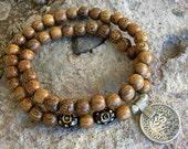 wrap mala bracelet - yoga vintage coin