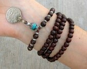 108 mala rosewood prayer beads and genuine Turquoise gemstone wrap bracelet or necklace, convertible, yoga jewelry