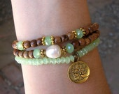 tree of life - wood, crystal and freshwater pearl mala bracelet set - on sale