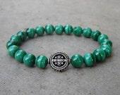 intuition - Genuine malachite yoga bracelet, wrist mala, with guru bead men and women