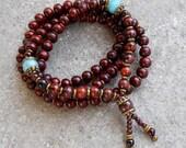 108 bead yoga mala necklace or bracelet, rosewood prayer beads, genuine Tiger's eye gemstone, and faceted Amazonite marker beads