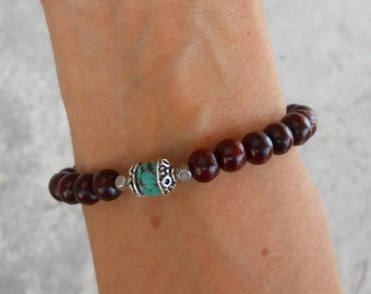 compassion- Rosewood wrist mala and genuine turquoise guru bead