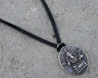 Ganesh - Success- Tibetan hand made pendant of Ganesh on black leather super soft deer skin suede - men unisex