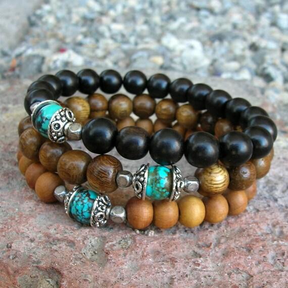 sandalwood, ebony, and wood with genuine turquoise guru bead mala bracelet set