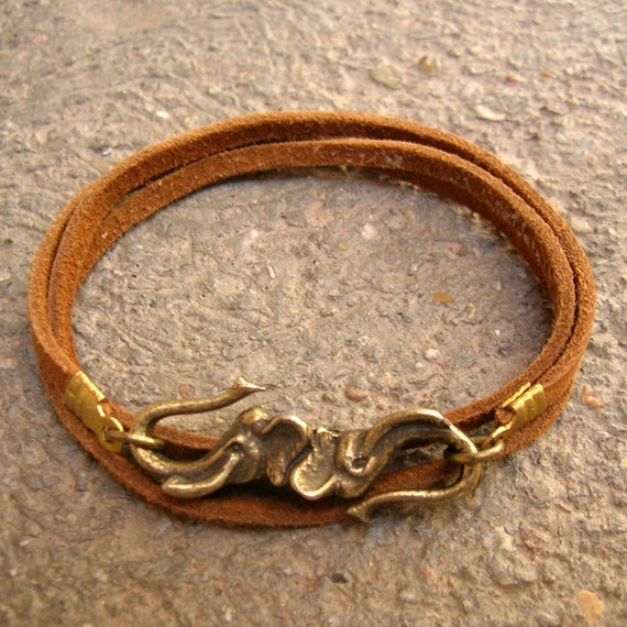Abundance - Elephant and genuine leather suede wrap bracelet, yoga jewelry