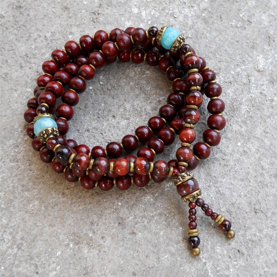 108 bead yoga mala necklace or bracelet, rosewood prayer beads, genuine Tiger's eye gemstone, and faceted Amazonite marker beads