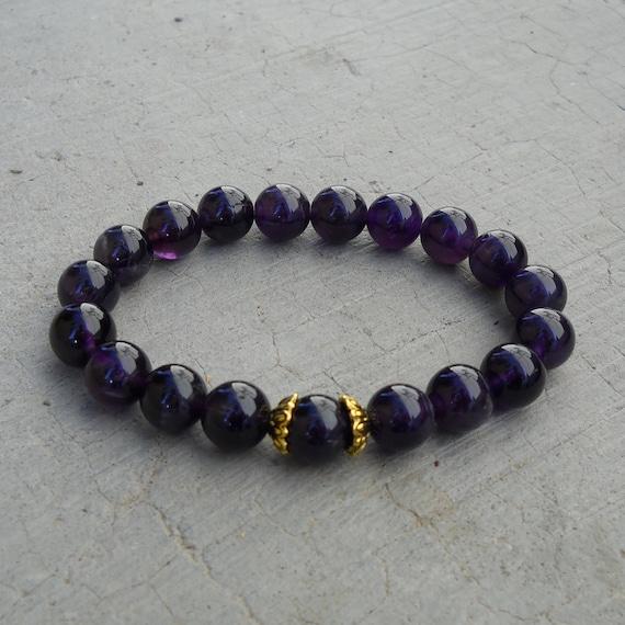 Healing - genuine amethyst gemstone yoga mala bracelet