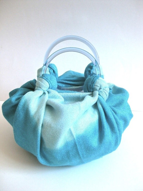 Blue and Teal Pashmina Purse With Clear Blue Handles - Bahama Waters
