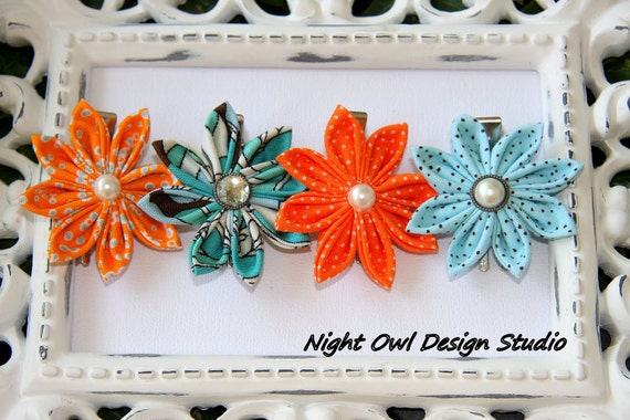 RESERVED for Sarah. 12 Flower Hair Clips - Kanzashi Tropical Fish
