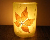 cozy warm home decor glass candleholder luminary wrapped with handmade paper