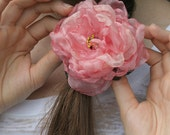 Quinceanera Sweet 16 Birthday Flower Hair Clip with Rose Pink for Teenage Girls, Vintage Inspired Parties, or Victorian Princess Decorations