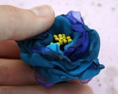 Oversized Floral Fabric Flower Ring with Cobalt Deep Dark Blue Silk and Satin for Weddings, Bohemian Parties, or Bridal Something Blue