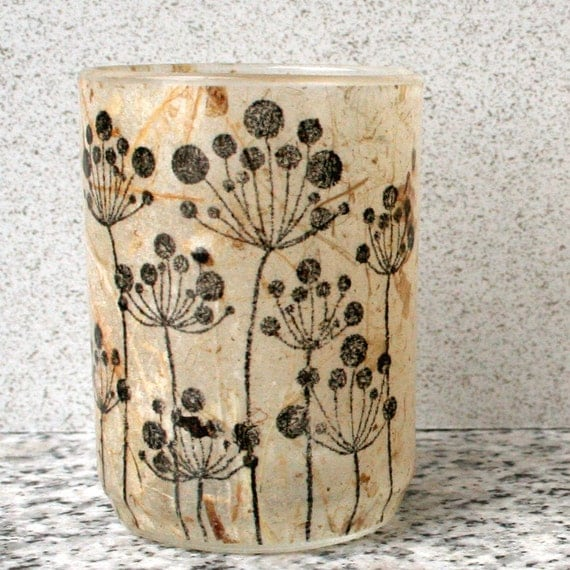 rustic industrial simply modern home decor candleholder luminary with handmade paper