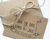 Wedding Save the Date -- Little Bird Banner Flats & Envelopes in Kraft/Natural Brown -- CHOOSE YOUR QUANTITY