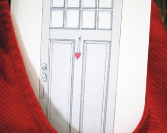 Love Lives Here - Address Change Announcement -- I Love You -- Simple & Sweet Craftsman Door with Heart