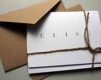 Personalized Stationery -- E L I S E -- Contemporary Stationery Set of Custom Notes & Envelopes -- CHOOSE YOUR QUANTITY