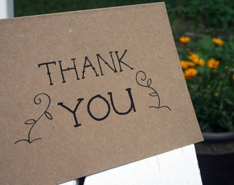 Thank You  --  Garden Edition --  Set of Notes/Envelopes on Recycled Cardstock -- CHOOSE YOUR QUANTITY