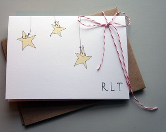 Stars Personalized Stationery Set -- Hanging Stars no. 1- CHOOSE your QUANTITY