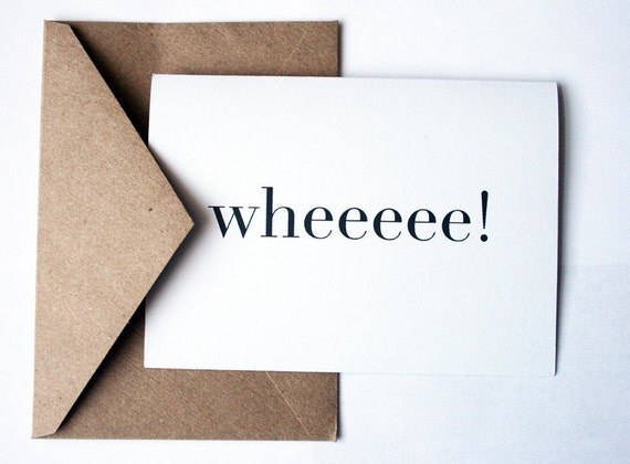wheeeee -- Happy Set of Two Cards & Envelopes in White/Kraft-- Hooray Series