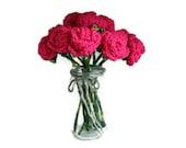 12 Crochet Pink Roses Bouquet, 1 Dozen, Hot Pink, Handmade Flowers, Custom Made in Australia