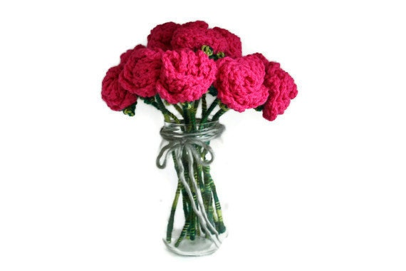 Items similar to 12 crochet pink roses bouquet 1 dozen for 12 dozen roses at your door