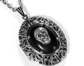 Steampunk Locket, Silver Skull LOCKET Necklace, Gothic Vintage BLACK Cabochon, Harley Rider, Holiday Necklace for Men - Steampunk Boutique