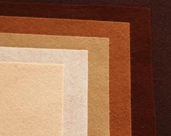 Skintones Wool Felt Palette - 12 x 12 in. Squares - 6 Sheets