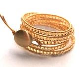 Ada-Leather Wrapped Beaded Bracelet