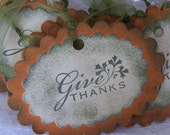 Clearance Give Thanks Thanksgiving Gift Tags Thanksgiving Tags Give Thanks Gift Tags: Set of 6 Thanksgiving Gift Tags