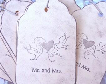 Wedding Wish Tags Wedding Gift Tags Love Birds Gift Tags Mr. and Mrs. Gift Tags: Mr. and Mrs. Love Birds Gift Tags  Set of 10 E-110