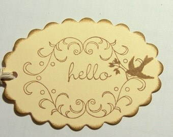 Wedding Wish Tags Wedding Gift Tags Thank You Gift Tags Bird Gift Tags:  Brown Bird Thank You Gift Tags Saying Hello Set of 10