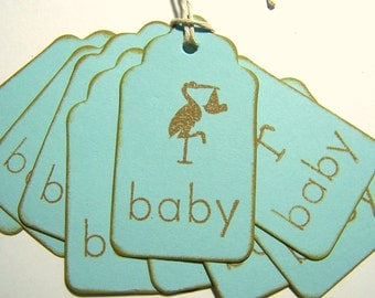 Baby Gift Tags Baby Shower Gift Tags Stork Gift Tags Blue Gift Tags: Brown Stork with Baby Set of 10 Gift Tags