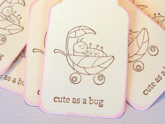 Baby Gift Tags Baby Shower Gift Tags Baby Tags: Ivory gift tags Cute As A Bug - Set of 10