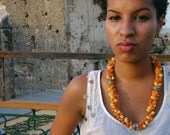 Canary yellow and sunrise orange textile necklace from Morocco