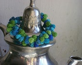Blue and green textile bead bracelet inspired by Morocco
