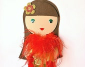 Made to order - christmas brown hair Tutika Wall-Doll with  golden dress and red Feathers