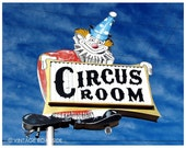 Clown Shoe Party - Route 66 Circus Room Restaurant Sign (Amarillo, Texas) - Fine Art Photograph. Route 66 Decor