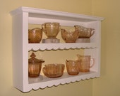 Hand-Cut Scallop Shabby, but Chic Wall Shelf  14 1/2 inches H in Distressed Vanilla Cream Painted Finish
