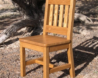 Wood Children's Chair 12 inch Honey Brown Oak Mission Style - Quality Children's Furniture Made to Order